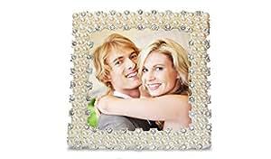 Cadre photo carré avec pied - pour photos/cartes/images - strass et perles