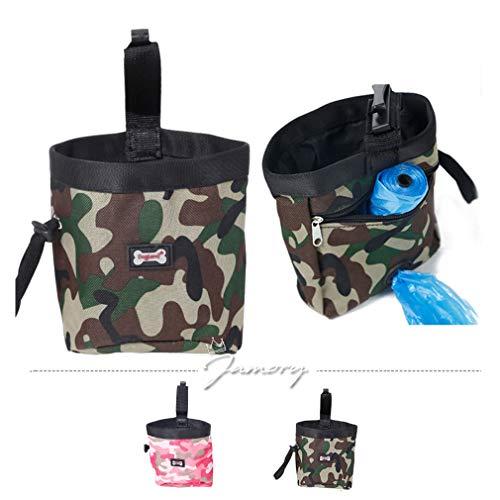 Jamory Futterbeutel Snackbeutel Leckerli Tasche Futtersack Beutel Hunde Beutel Outdoor mit Bauchgurt (Tarnung grün) -
