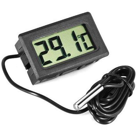 JECO - Thermomètre digital encastrable avec sonde (Réfrigérateur, Congélateur, Aquarium, Serre)
