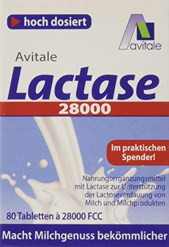 Avitale Lactase 28.000 FCC, 80 Tabletten im Spender - 80 Tabletten