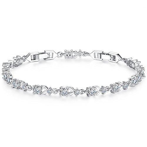 Wowl Silber überzogene Tennis-Armband mit funkelnden Zirkonia Steinen