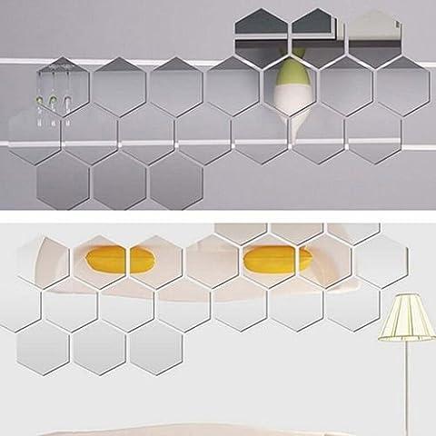 ILOVEDIY Hexagonale Miroir Acrylique Autocollant Mur Decal Décoration