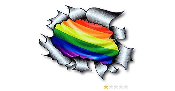 Sticker Licker Lizenziert Große Zerrissen Metall Rip Design Mit Lgbt Gay Pride Regenbogen Motiv Externe Auto Aufkleber 205x160mm Auto