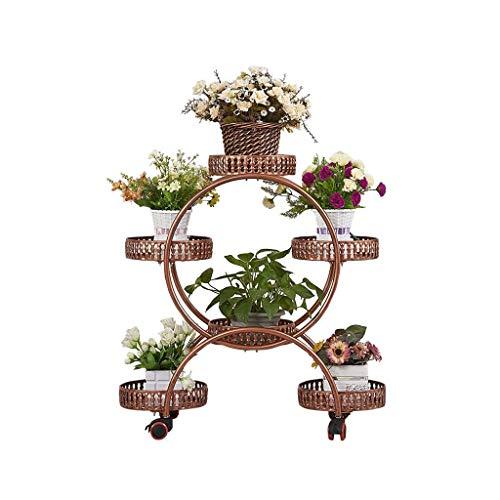 JPVGIA Blumentopfhalter Blumenständer mit Rollen, 4-Schicht 6 Körbe mit Rädern Metall Sammelstelle & Blumentopfpflanze Halter Display Rack, Regale Blumen, Schmiedeeisen (Color : Brown) -