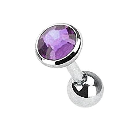 Taffstyle® Tragus Piercing mit eingefassten Kristall / Tanzanite - 3mm