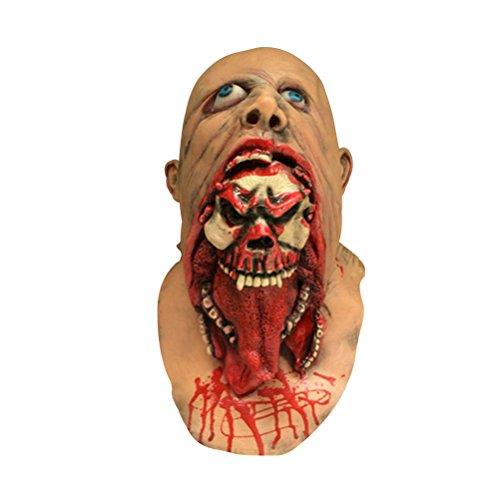 Tinksky Víspera de Todos los Santos Mascarada Terror Vampiro Adulto Infectado Máscara de Zombi Scary Traje de fiesta Props Traje Screaming Corpse Head Mask Trajes de Halloween