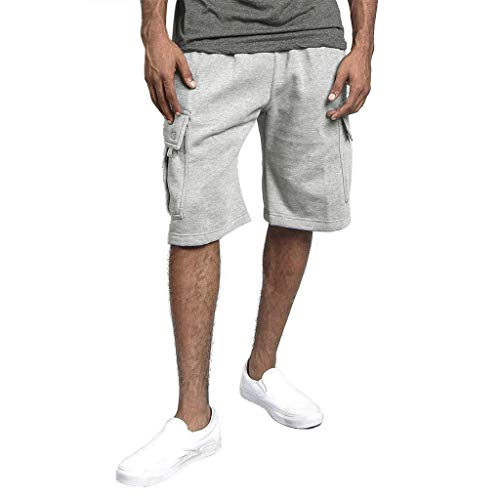 Perlen Baumwolle Shorts (Cargo Shorts Herren Chino Kurze Hose Sommer Bermuda Sport Jogging Training Stretch Shorts Fitness Vintage Regular Fit Sweatpants Baumwolle Qmber Werkzeugshorts mit Mehreren Taschen Overall(Gray,3XL))