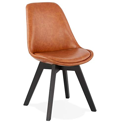 Alterego Chaise Design 'Niagara' Brune avec Pieds en Bois Noir