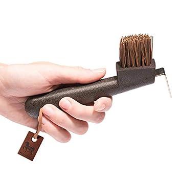 amalon Cure-pied avec brosse en poils naturels-Cure-pied pour cheval-cheval en les rayures en marron pour le soin à cheval-pour chaque boîte