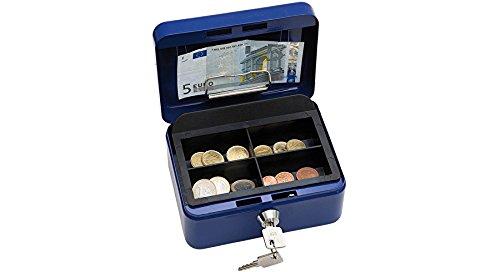 Wedo 145103H Geldkassette (aus pulverbeschichtetem Stahl, versenkbarer Griff, Geldnoten- und Belegeklammer, 4-Fächer-Münzeinsatz, Sicherheits-Zylinderschloss, 15,2 x 11,5 x 8,0 cm) blau