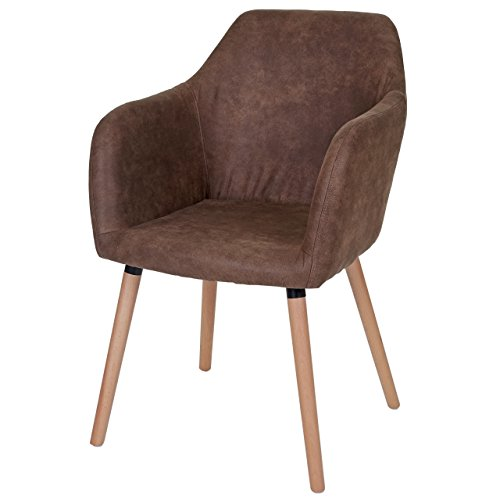 Mendler Esszimmerstuhl Malmö T381, Stuhl Lehnstuhl, Retro 50er Jahre Design ~ Textil, Vintage braun, helle Beine