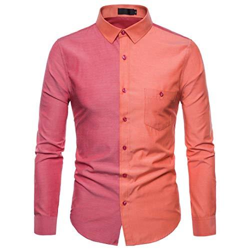Binggong Herren Shirt,Herren Hemd Slim-Fit Langarm Hemden Freizeit Hochzeit Arbeit Business Super Qualität,Retro Revers Zweifarbig Muscle...