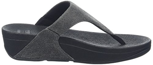 Fitflop Lulu Toe-Thong, Infradito Donna Nero (Black Shimmer-Denim)