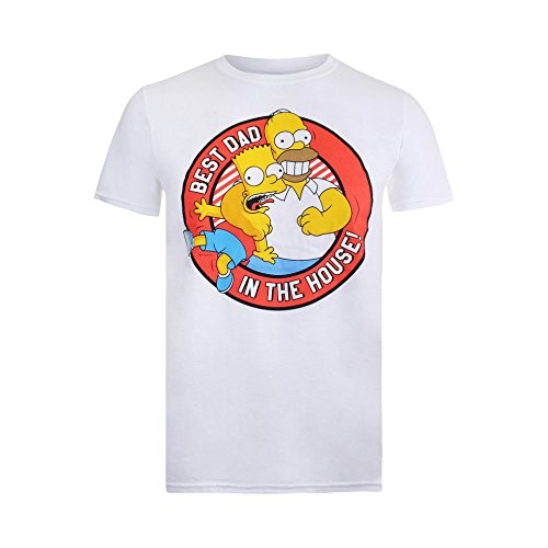 Simpsons Herren T-Shirt Best Dad in The House Weiß