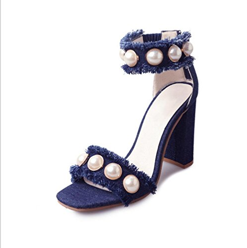 La signora sandali parola cingulate Sandali con tacco aperte in punta di usura esterna della crosta spessa selvatici scarpe da spiaggia casuali deep blue