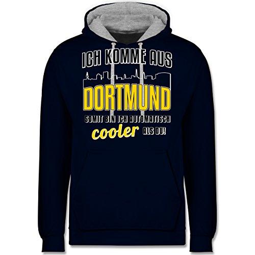 Städte - Ich komme aus Dortmund - Kontrast Hoodie Dunkelblau/Grau meliert