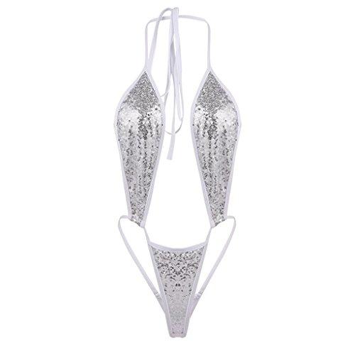 Bademode Damen Bandage Pailletten Bikini Push-up gepolsterter BH Einteiliger Badeanzug GreatestPAK Silber - Tan-sport-bh