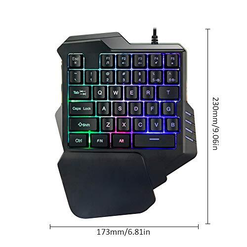 Pueri Clavier mécanique clavier de jeu à une main mini-clavier de jeu repose-mains à 35 touches Clavier de jeu RVB Contre-jour coloré 7