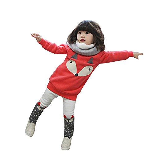 cinnamou Baby Girl Fox Outfits Set - Langarm - Sweatshirt Top + Hosen Kleider (3T, Rot) (Prinzessin Jumper Naht)