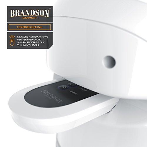 Brandson – Turmventilator mit Fernbedinung | Säulenventilator inkl. Oszillation | 86 cm | 60W | Ventilator mit 3 Geschwindigkeitsstufen Timer | LED-Display | leises Betriebsgeräusch | weiß Bild 4*