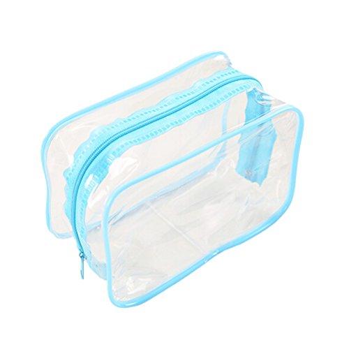 En plastique transparent Fermeture Éclair Voyage Maquillage trousse de toilette sac Bleu bleu 15*7*10.5cm
