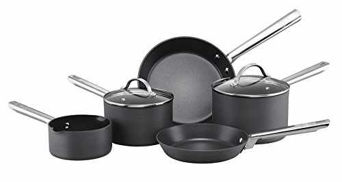 Anolon Professional Hard Anodised Milkpan, 2 Saucepans and 2 Fry Pans, Set of 5 - Black