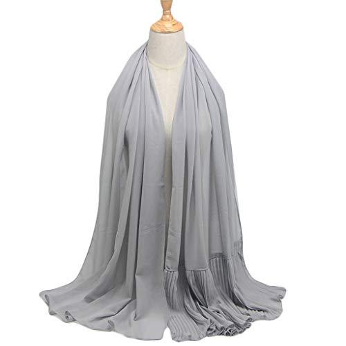 ruiruiNIE Frauen Ethnische Oversize Crinkle Chiffon Hijab Muslim Kopftuch Einfarbig Plissee Rüschen Trim Schals Islamischen Head Wrap Stirnband - F # Velvet Trim Mantel