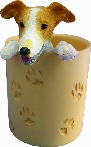 Greyhound cervatillo y blanco, lápiz Copa Soporte con pintado a mano