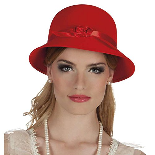 Chapeau charleston rouge avec ruban et 1 rose - 56 cm