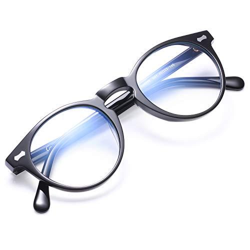 Carfia Anti Blaulicht Brille UV Schutz Gamer Computer Brille mit Blaulichtfilter für PC Smartphone Tablets TV (Schwarz, Runder Rahmen)