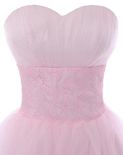 YiYaDawn Kurzes Ballkleid Brautjungfernkleid mit Spitze für Damen Blaugrün