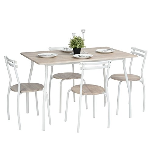 Set Tavolo E Sedie Cucina.Furniturer 5 Pz Set Tavolo E Sedie In Metallo Telaio In Legno Da