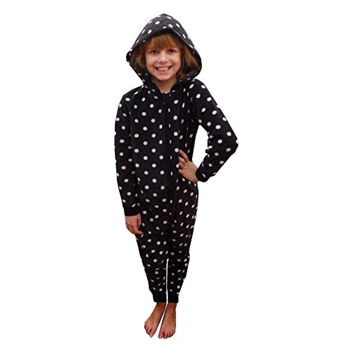 Nifty Kids Spotted Girls Hooded Onesie Childrens Polka Dot All In One Sleepsuit