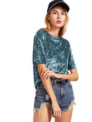 ROMWE Damen Samt Top Hundhals Kurzarm Shirt Oberteil Blau