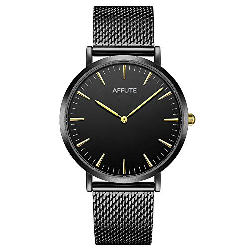 malistische ultradünne Uhren schwarz Mesh Edelstahl wasserdichte Quarz-Armbanduhr mit Gold Zeiger ()