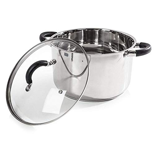 Picture of Tower Essentials Casserole Dish with Glass Lid and Polished Mirror Finish, Stainless Steel, Silver, 24 cm