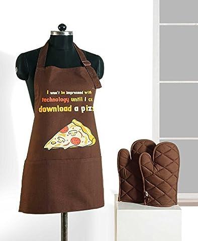 Handgemachte Grafik-Display Print Schürze & Ofen Mitt Set - 100 % Baumwolle - Küche-Geschenke Für Frauen, Apg03-G020