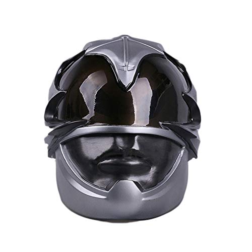 QQWE Power Rangers Warrior Maske Helm Film Spiel Cosplay Maske Halloween Leistung Thema Party Cosplay Requisiten Latex PVC Kopfbedeckungen,SilverPVC-OneSize