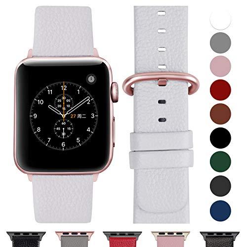 Fullmosa kompatibel Watch Armband 42mm und 38mm, Echtes Leder Uhrenarmband Ersatzband für Watch Series 3,2,1, Nike+ Hermes&Edition,42mm Weiß+Roségold Schnalle