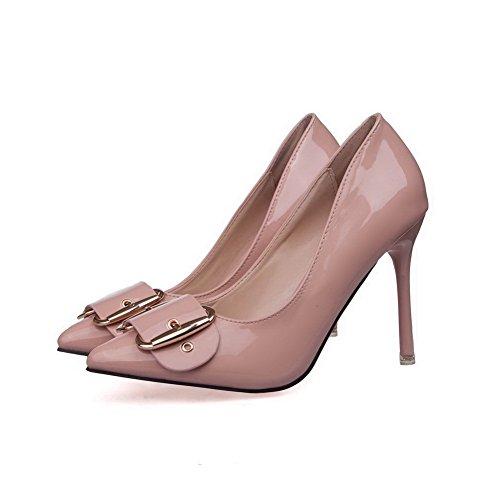 AalarDom Femme Pointu Tire Couleur Unie Stylet Chaussures Légeres Nu-10CM