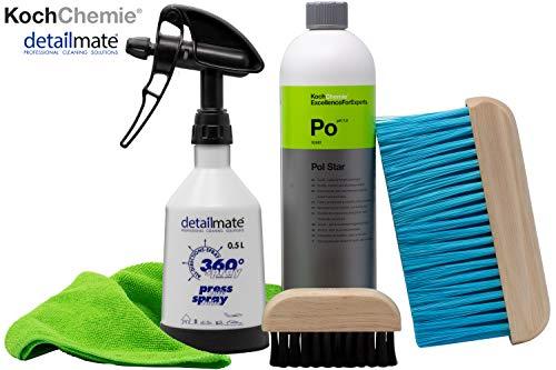 detailmate Set - Koch Chemie Pol Star - Textil-, Leder & Alcantarareiniger 1 L Made by Kwazar 360 Grad Sprühflasche 0,5 L, Mikofasertuch 40x40cm - weiche Nylonbürste für Alcantara & Leder