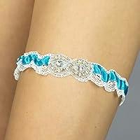 Giarrettiera di pizzo nozze matrimonio sposa biancheria intima regali de nozze blu bianco strass Handmade