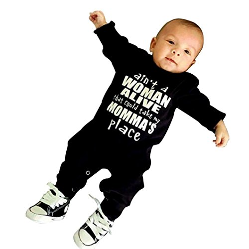 SHOBDW Boys Rompers, Baby Letter Print Romper Black Autumn Jumpsuit Newborn Infant Outfits Clothes 41d NbECgKL
