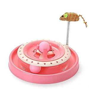 Aszhdfihas Jouet de Formation de Chat Jouet de Chat pour Animaux de Compagnie Rose à Trois Couches Spring Mouse Funny Cat Puzzle Play Board. Baguette rétractable Chat