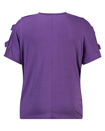 Donna Estate Manica Corta Maglietta Bluse Shirt T-Shirt Camicetta Allentato Viola