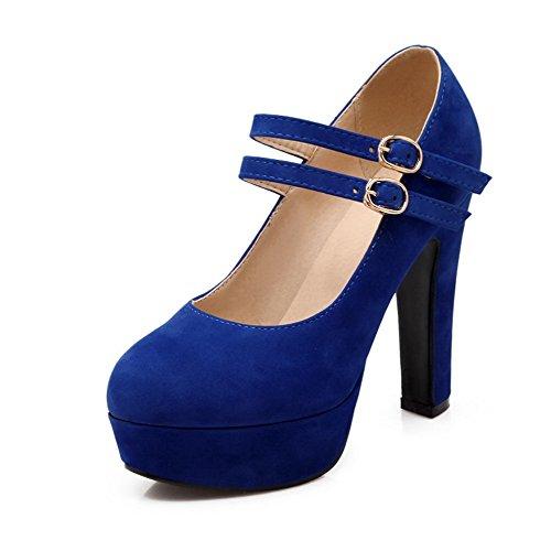 VogueZone009 Femme Rond à Talon Haut Dépolissement Couleur Unie Boucle Chaussures Légeres Bleu