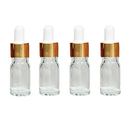 ette, für ätherisches Öl, Parfüm, Make-up, Kosmetika oder als Vorratsfläschchen, transparent, 4 Stück, durchsichtig, 5ml ()