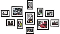 WOOD MEETS COLOR Wall Photo Frames multiple photos, Including White Picture Mats and Installation Instruction, Set of 11 Collage Frames, 3-8x10 Inches, 8-5x7 Inches (Black)
