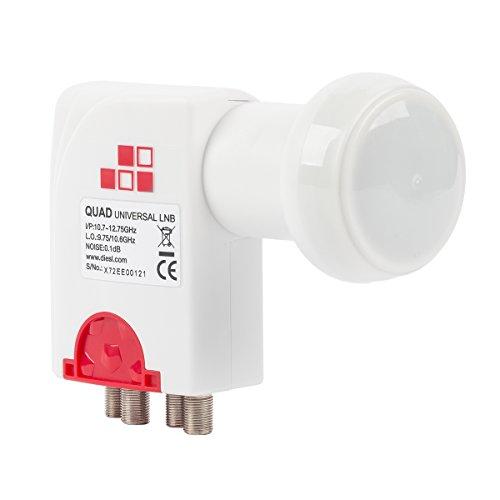 Diesl.com - LNB Quad Universal Enif 0.1 dB | Captación de señales en la banda KU | Baja figura de ruido y elevada ganancia | Cuatro salidas de satélite.
