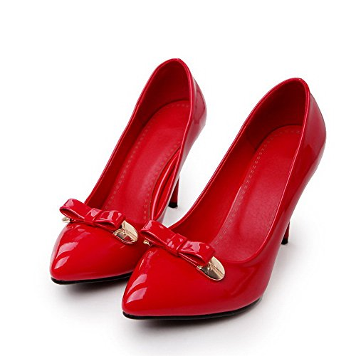 VogueZone009 Donna Scarpe A Punta Tacco A Spillo Pelle Di Maiale Puro Tirare Ballerine Rosso